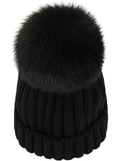 7a23aaaf3ddc8 WaySoft Mother-Child Matching Genuine Fur Pom Pom Beanie - Pom Pom ...