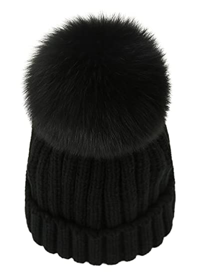 17d23e2fe LITHER Women Winter Kintted Beanie Hats with Real Fox Fur Pom Pom