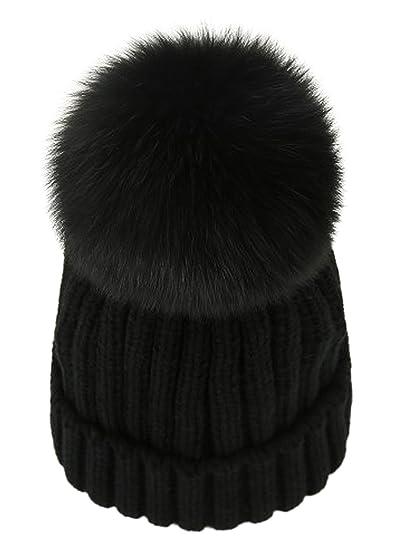 ffc46e3b59b LITHER Winter Knit Hat Real Fox Fur Pom Pom Womens Girls Knit Beanie Hat  Black