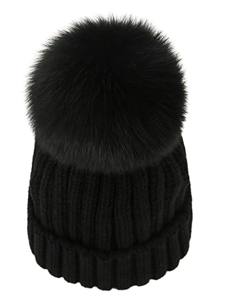 LITHER Winter Knit Hat Real Fox Fur Pom Pom Womens Girls Knit Beanie Hat  Black 8c54316aa070