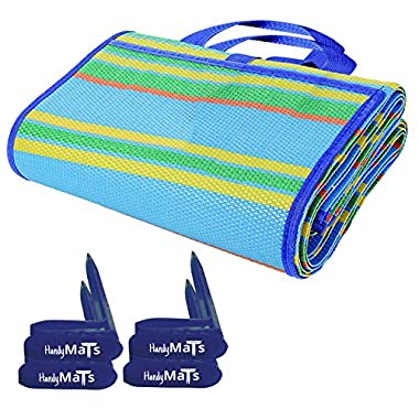 "Picnic Blanket With Carrying Strap-4 Hold Down Stakes Included-Large 60  x 78"" Beach Blanket For Traveling, Camping, and a Children Play Mat-Weather-proof, Mold And Mildew-resistant, Folding Grass Mat"