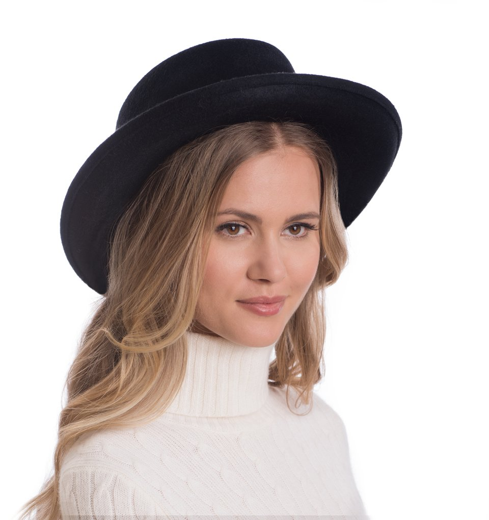 Eric Javits Luxury Fashion Designer Women's Headwear Hat - Wool Planter - Black