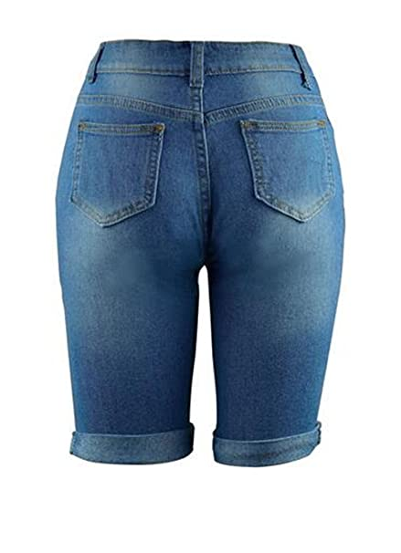d150ad54ff XiaoTianXin-women clothes XTX Womens Basic Bermuda Ripped Holes Mid Waist  Knee Length Denim Shorts at Amazon Women s Clothing store