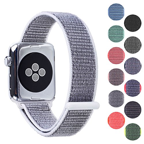 Woven Nylon Replacement Apple Watch Band by Pantheon, Sport Loop Edition, For Men or Women, Strap fits the 38mm or 42mm Apple iWatch, Compatible Series 1, 2, 3, Nike (White, 38mm) by Pantheon