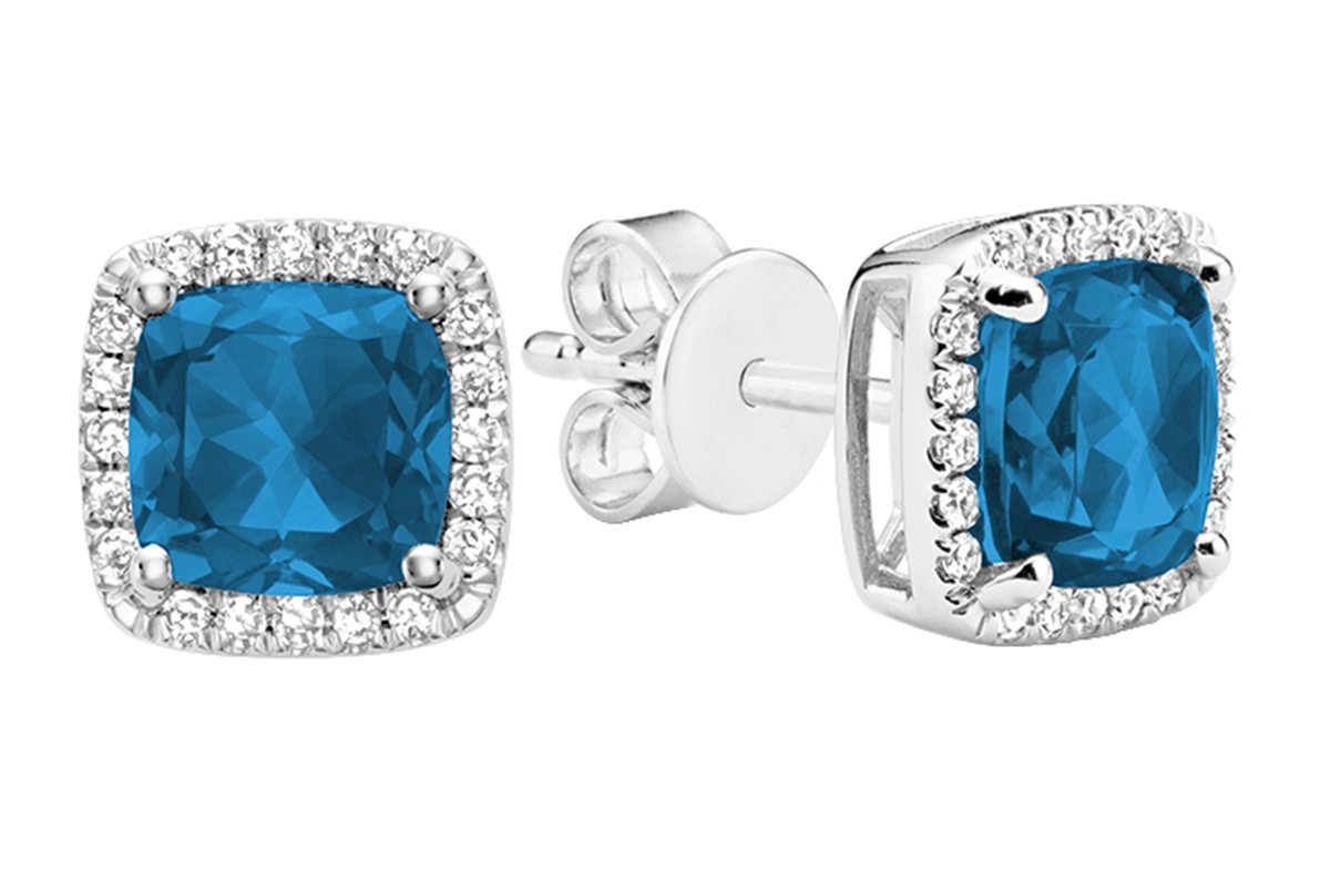 10K Gold Natural Diamond and Gemstone Earrings (0.11TDW H-I Color,I1 Clarity) push backs (london-blue-topaz)