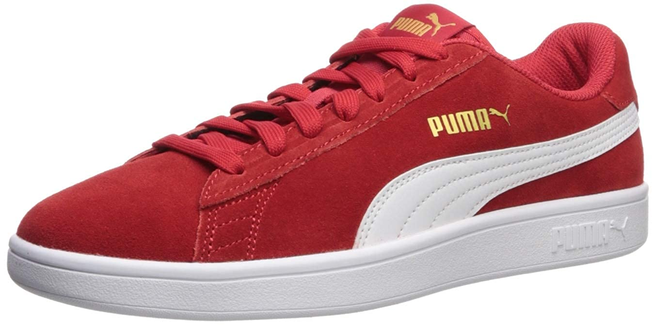 PUMA Men's Smash V2 Sneaker, high Risk red White Team Gold, 14 M US