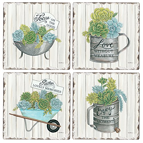 CounterArt Set of 4 Assorted Tumbled Tile Coasters, Succulent Inspirations