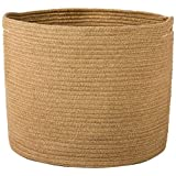 "Goodpick Woven Storage Basket - Jute Basket - Rope Basket with Handles for Toys, Magazine, Books, Blanket, Logs, and Pot Plant Cover, Versatile Plant Holder Floor Laundry Storage Bin, 15.8""H x 12.6""D"