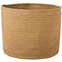"Goodpick Woven Storage Basket - Jute Basket - Rope Basket with Handles for Toys, Magazine, Books, Blanket, Logs, and Pot Plant Cover, Versatile Plant Holder Floor Laundry Storage Bin, 15.8""D x 12.6""H"