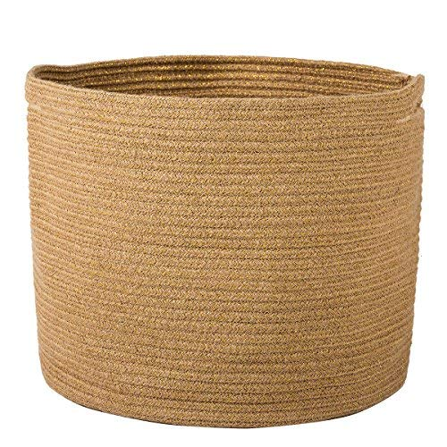 "Goodpick Woven Storage Basket - Jute Basket - Rope Basket with Handles for Toys, Magazine, Books, Blanket, Logs, and Pot Plant Cover, Versatile Plant Holder Floor Laundry Storage Bin, 15.8""D x 12.6""H"