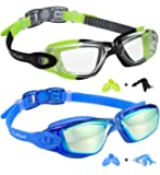 EverSport Kids Swim Goggles, Pack of 2 Kids Swimming Goggles, Crystal Clear Swimming Goggles for Children and Teens…