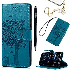 MOLLYCOOCLE Galaxy S8 Case,Luxury Wallet Case Embossed Tree Cat Pattern Premium PU Leather TPU Inner Bumper Wrist Strap Credit Card Slots Flip Folio Protective Cover for Samsung Galaxy S8 - Blue