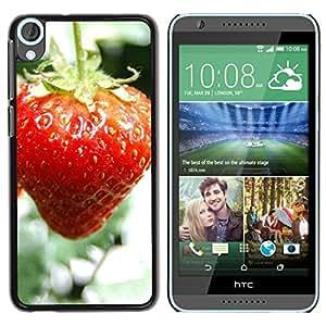 TopCaseStore / la caja del caucho duro de la cubierta de protección de la piel - Fruit Macro Wet Strawberry - HTC Desire 820
