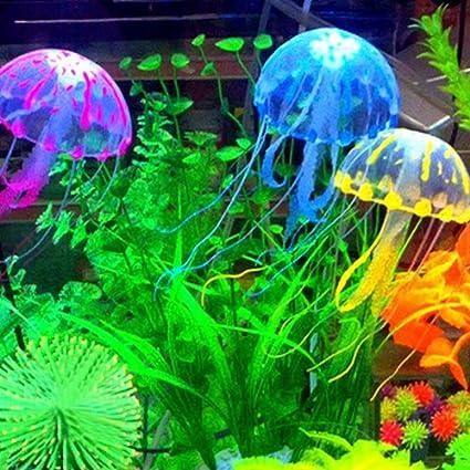 Decoración Acuario Pecera Estanque Medusa Verde Plástico Suave: Amazon.es: Hogar