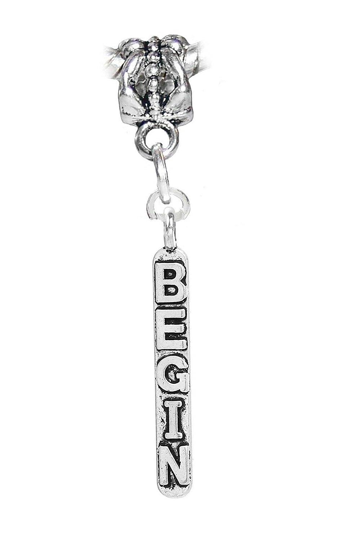 Begin Inspirational Word Message Dangle Charm for European Bead Slide Bracelets Fashion Jewelry for Women Man