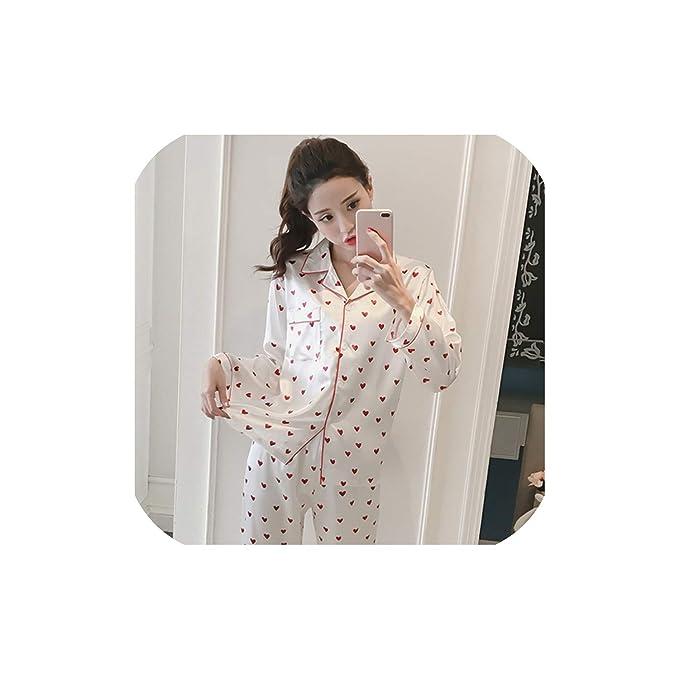 Amazon.com: Pijama de seda de satén para mujer, conjunto de ...