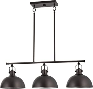 "Kira Home Belle 34"" 3-Light Modern Industrial Kitchen Island Light, Dome Shades + Swivel Joints, Oil Rubbed Bronze Finish"