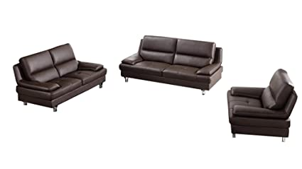 Remarkable Amazon Com Benjara Bm194762 Three Piece Leatherette Sofa Alphanode Cool Chair Designs And Ideas Alphanodeonline