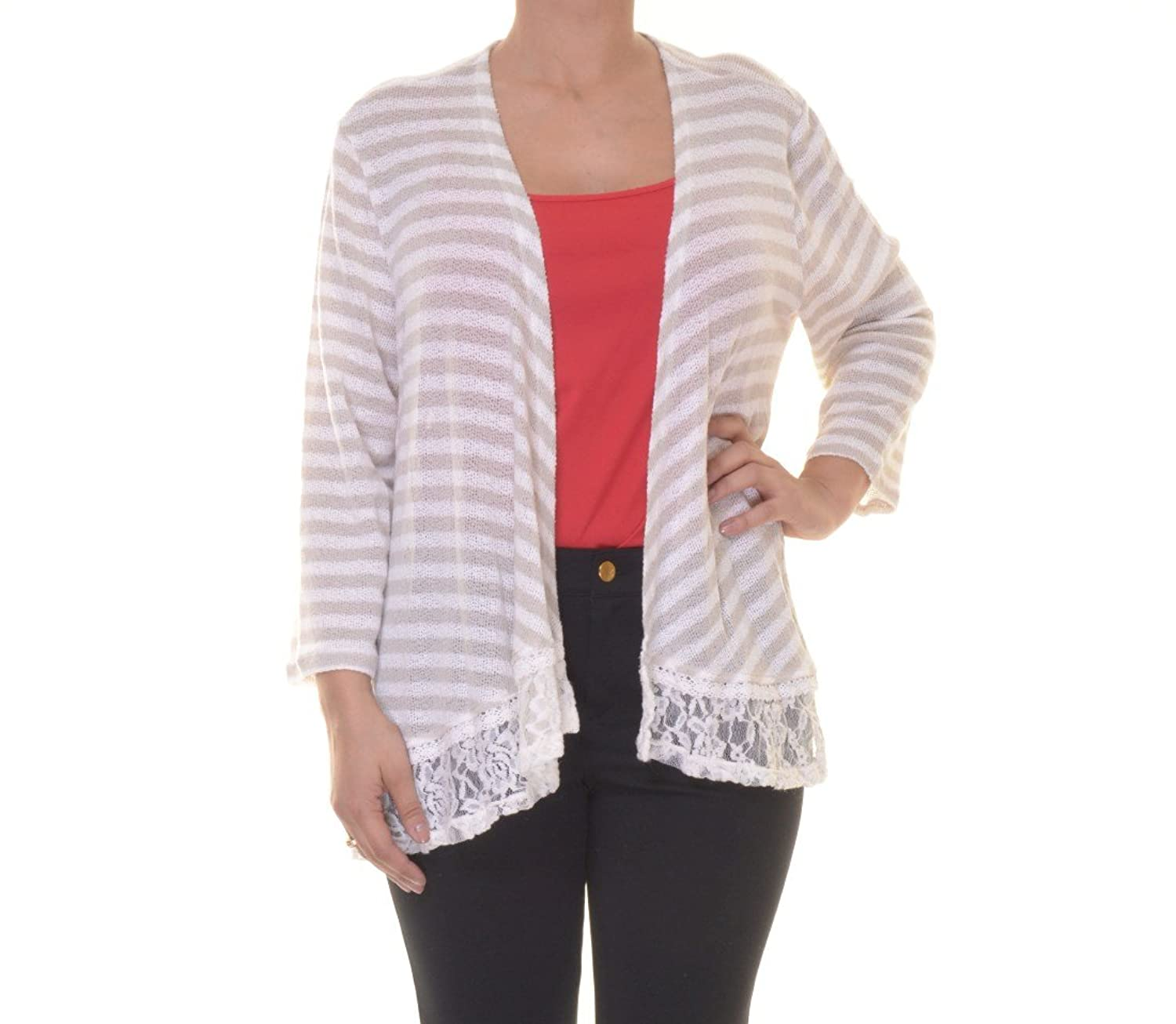 Style & Co. Women's Lace Trim Open Cardigan Sweater