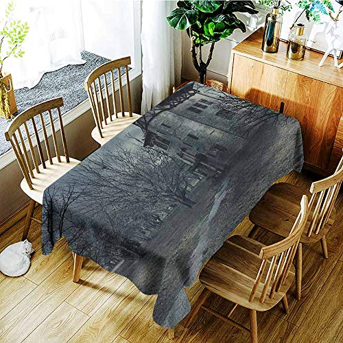XXANS Spill-Proof Table Cover,Halloween,Halloween Design with Gothic Haunted House Dark Sky and Leafless Trees Spooky Theme,Fashions Rectangular,W60X102L Teal]()