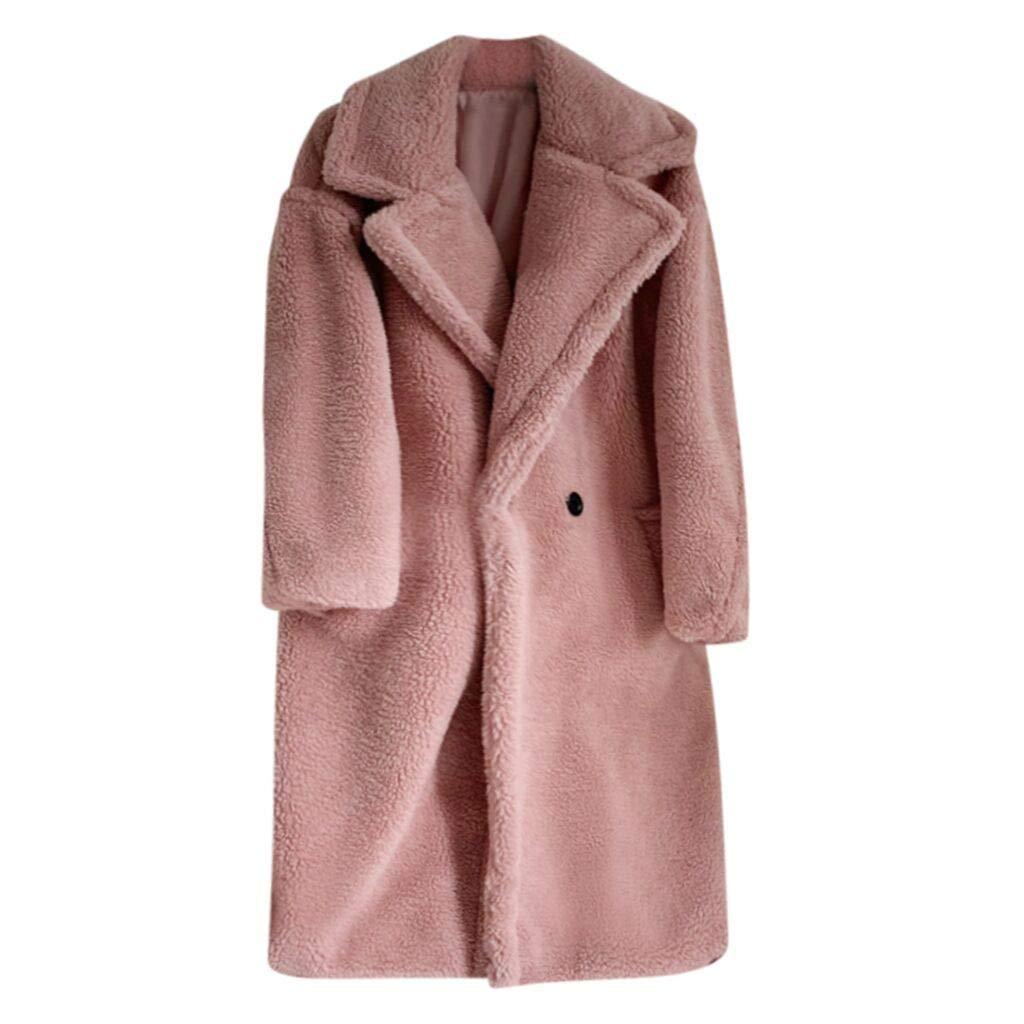 HCFKJ Women Tops Fashion Autumn and Winter Loose Medium Long Windbreaker Lamb Coat(Pink,M) by HCFKJ