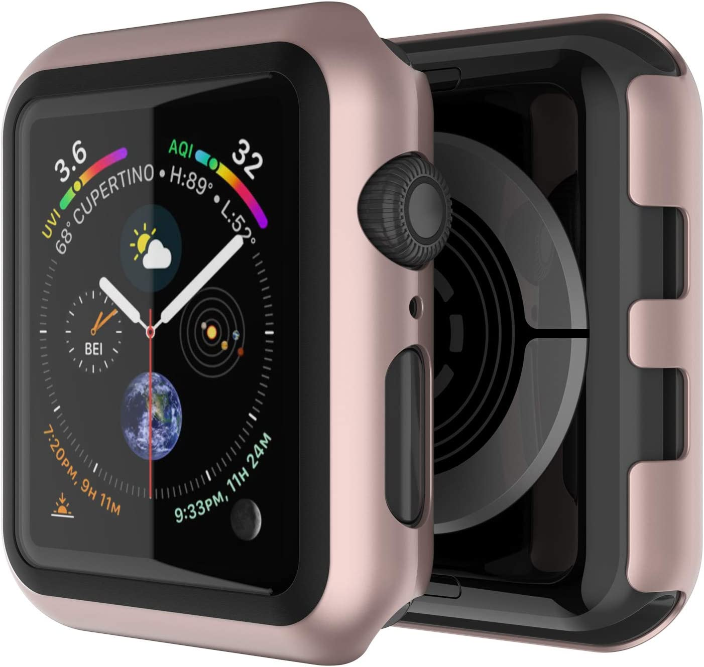 Punkcase for Apple Watch Screen Protector 40mm   9H Hardened Tempered Glass iWatch 5 Cover   Full Body Bumper Case   Ultra Slim Protection for Apple iWatch Series 5/4(Rose Gold)