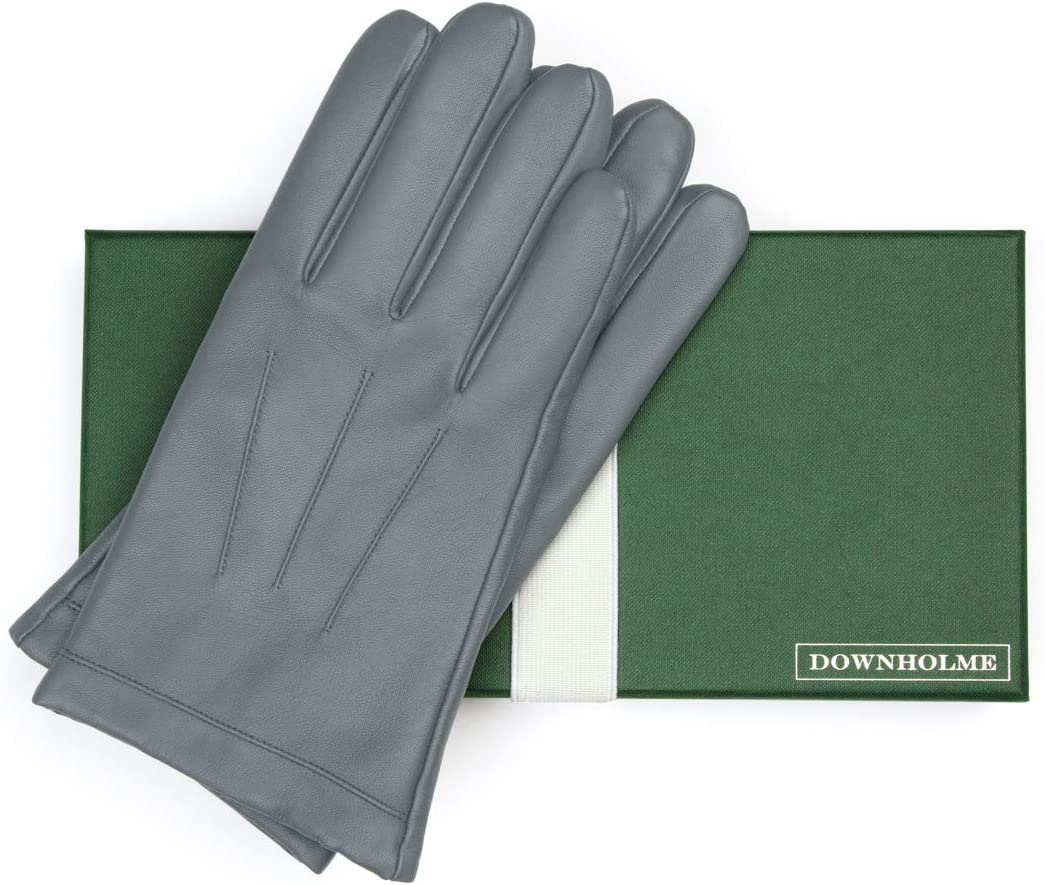 Downholme Classic Leather Cashmere Lined Gloves for Men Gray, XS