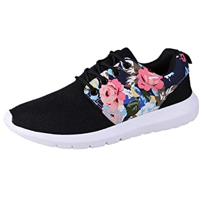 Toe Single Shoes Flower Up Print Top Mesh Casual Women Breathable Trainers Lace Low Sneakers Sports Ladies Bazhahei Flat Round Size rxWeQCdoBE