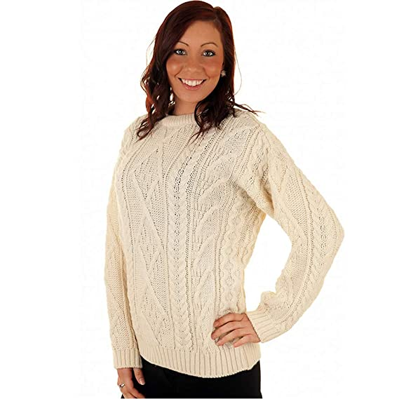 17be6de1365a5c British Wool Unisex Cream Aran Cable Knit Sweater in Small - Made in UK   Amazon.co.uk  Clothing