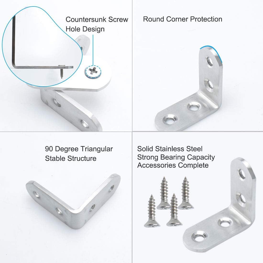 16 soportes de esquina de 28 x 28 x 35 mm de acero inoxidable con 96 tornillos de soporte de estante de metal de 90 grados de /ángulo recto de soporte de esquina color plateado