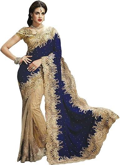 Bollywood Saree Party Ethnic Wedding Indian Pakistani Designer ruffle Sari vfs40