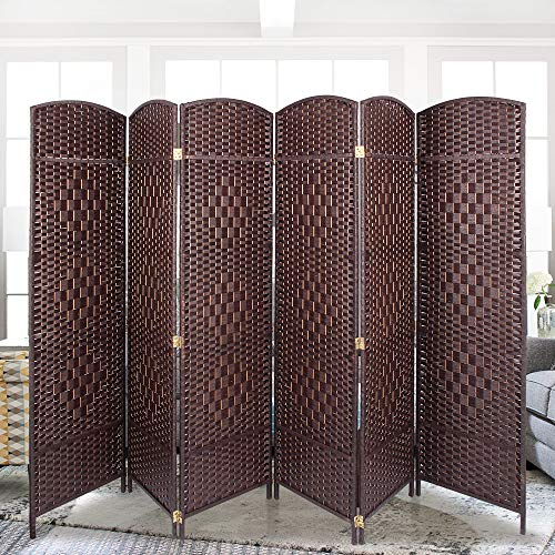 Aclumsy 6 Panel Room Divider Weave Fiber Freestanding Room Divide 6 ft Tall Folding Privacy Screens Brown