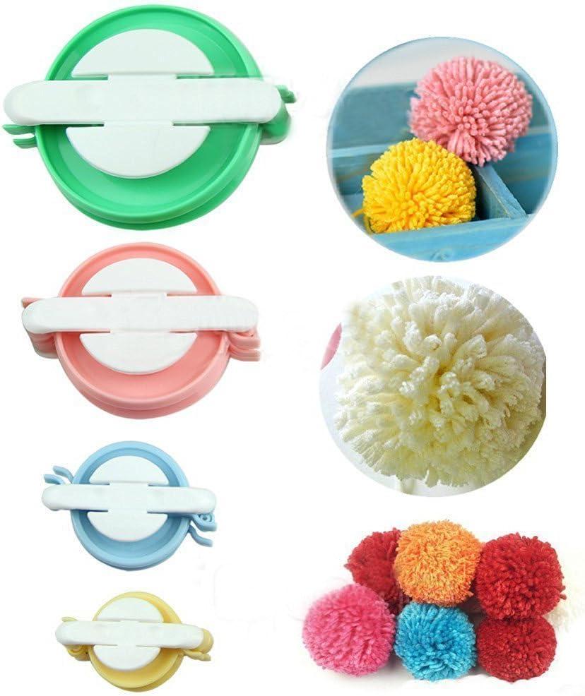 Xrten 4 Gr/ö/ßen Pompom Maker f/ür DIY Stricken Handwerk,Fluff Ball Weaver Maker