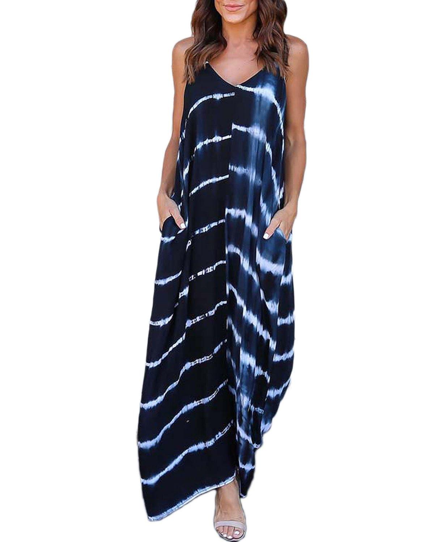 bluee FLORHO Womens Boho V Neck Flutter Sleeve Summer Maxi Dress Floral Split Dresses