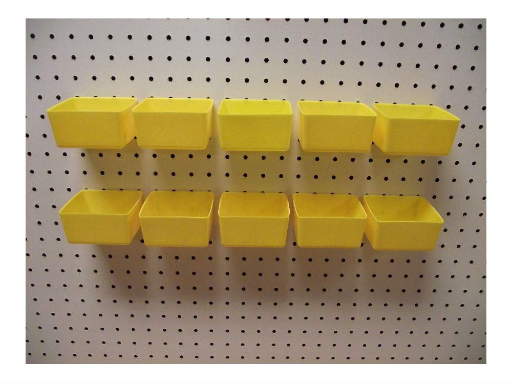 Plastic YELLOW PEG BOARD BINS 10 PACK Tool Workbench PEGBOARD NOT INCLUDED