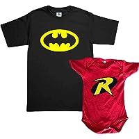 Set Batman & Robin 2 Playeras papa e hijo Dia del Padre Familia Evento Duo Papá e Hijo