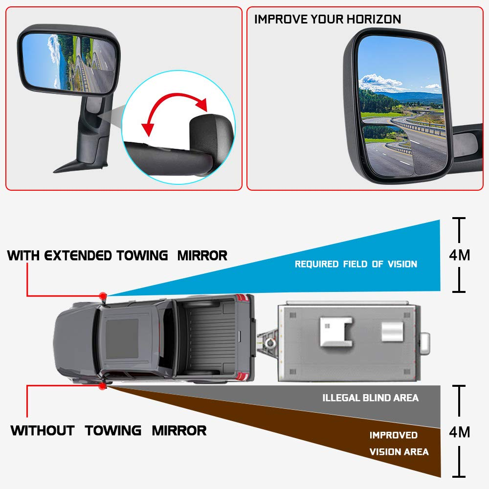Spead-Vmall Power Heated Towing Mirrors Compatible for 98-01 Dodge Ram 1500 98-02 Ram 2500 3500 Folding Rear View Side Mirror