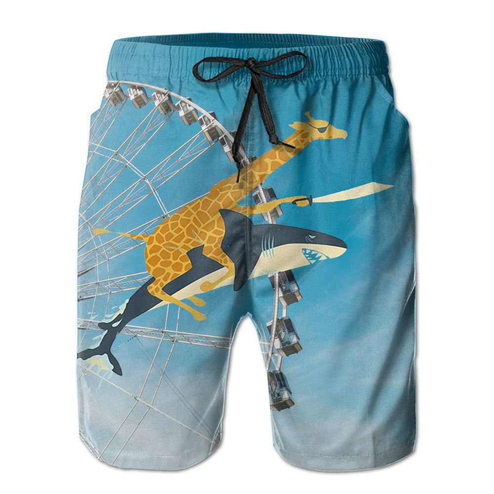 Funny Giraffe Rides A Shark Funny Animal Swim Trunks Quick Dry Beach Board Shorts Men Pants Household Shorts SYSOIO