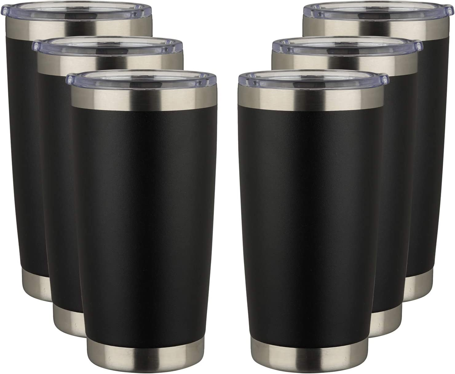Powder Coated Thermal Cup for Cold Drinks /& Hot Beverage MUCHENGHY 20oz Insulated Tumbler Bulk Stainless Steel Cup 6 Pack Black, 6 Double Wall Vacuum Travel Coffee Mug with Lid and Straw