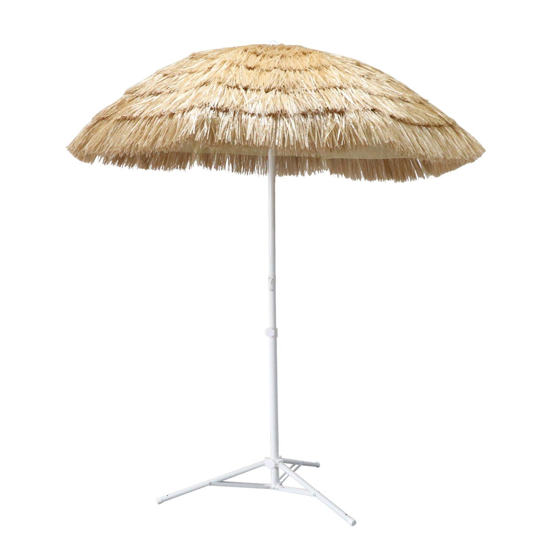 ORNO TTOBE 7ft Hula Thatched Tiki Umbrella Hawaiian Style Beach Patio  Umbrella Natural Color 8 Ribs