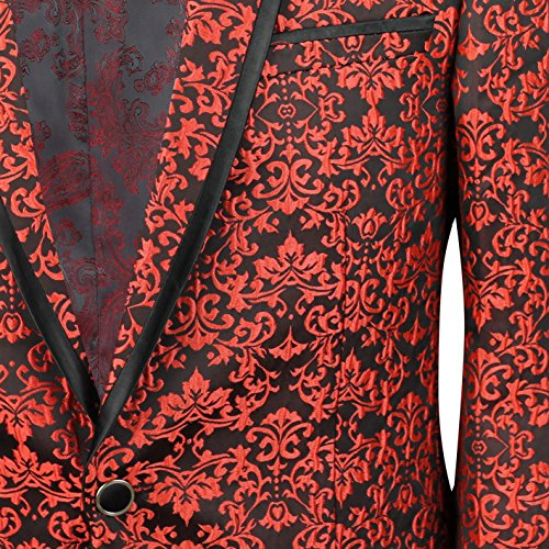 Completo giacca uomo rosso con stampa Paisley Italian designer equipaggiata Blazer EU 36a 54 Rosso Red