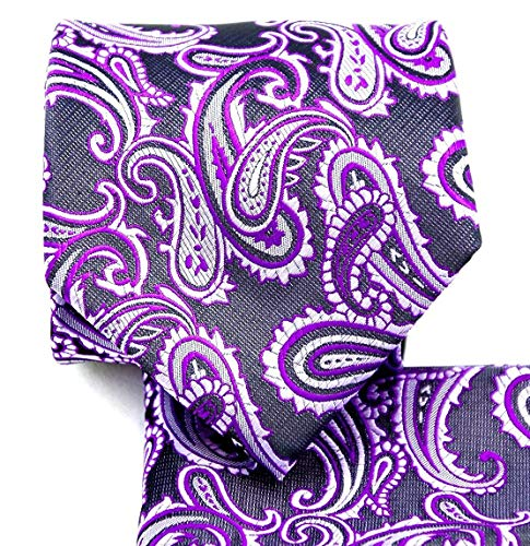 3.5 Paisley Necktie Set #600-P-Purple/Black