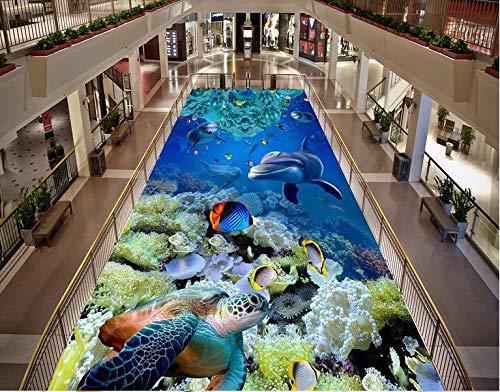 BZDHWWH 3D Stereoscopic Wallpaper Floor The Underwater World Living Room Wallpaper Floor Tiles European Wallpaper Art,110Cm X 160Cm