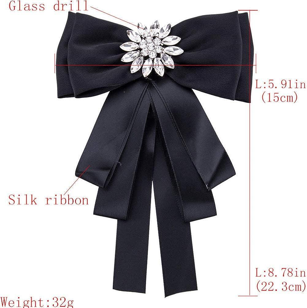 Noir TENDYCOCO Bowknot Broche Chemise Noeud Papillon Strass Cou Cravate Broche pour Femmes Dames