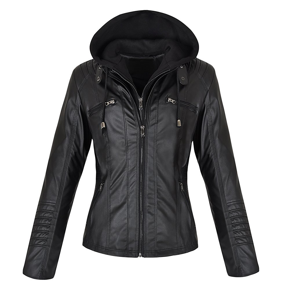 Kangwoo Women's Vintage Faux Leather Moto Jacket with Detachable Hood Black S