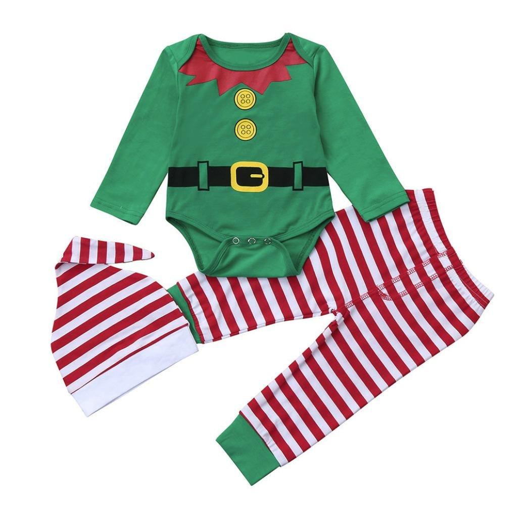 WARMSHOP Newborn Baby 3Pcs Christmas Long Sleeve Romper+Striped Pants+Hat Outfits Set