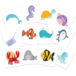 TattooFun Sea Creatures Temporary Tattoos | Pack of 24 Tattoos Dolphins Turtles Sharks Seahorses | Kids Party Supplies Decorations & Favors | Skin Safe | MADE IN THE USA
