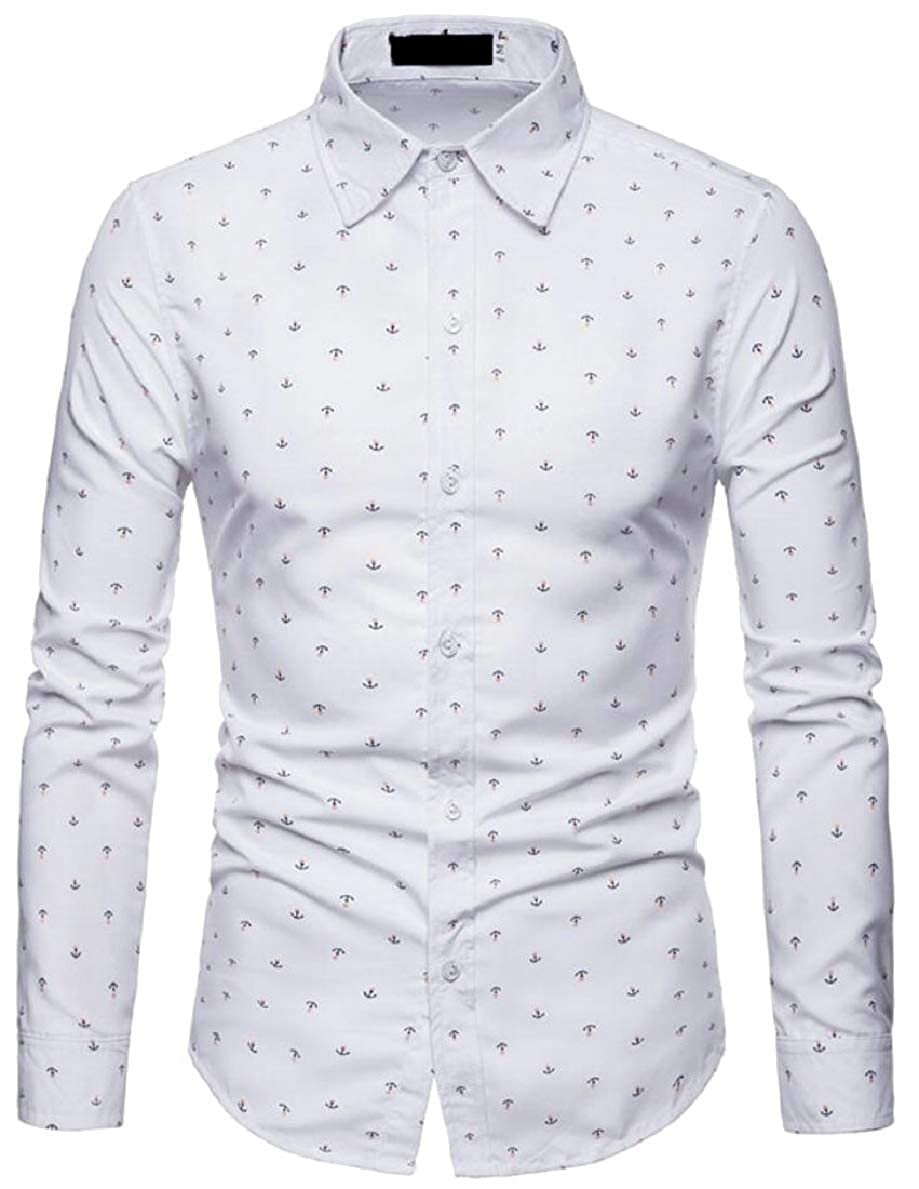 FLCH+YIGE Mens Long Sleeve Slim Fit Anchor Printing Casual Button Down Shirts