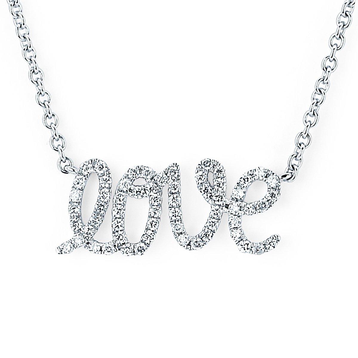 14K White Gold 0.14 Cttw. White Diamond Cursive Script ''Love'' Necklace with 18'' Chain
