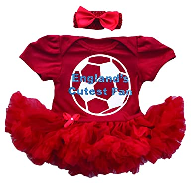 aa741161d94 Little Secrets Childrens Clothing England s Cutest Fan Football Baby Girl s  Red Tutu Romper with Headband (